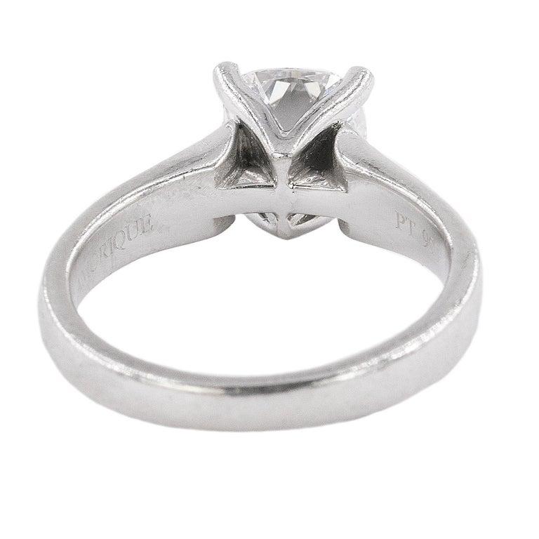 Women's or Men's Platinum Ring with E Color VVS1 Clarity Cushion Cut Diamond For Sale