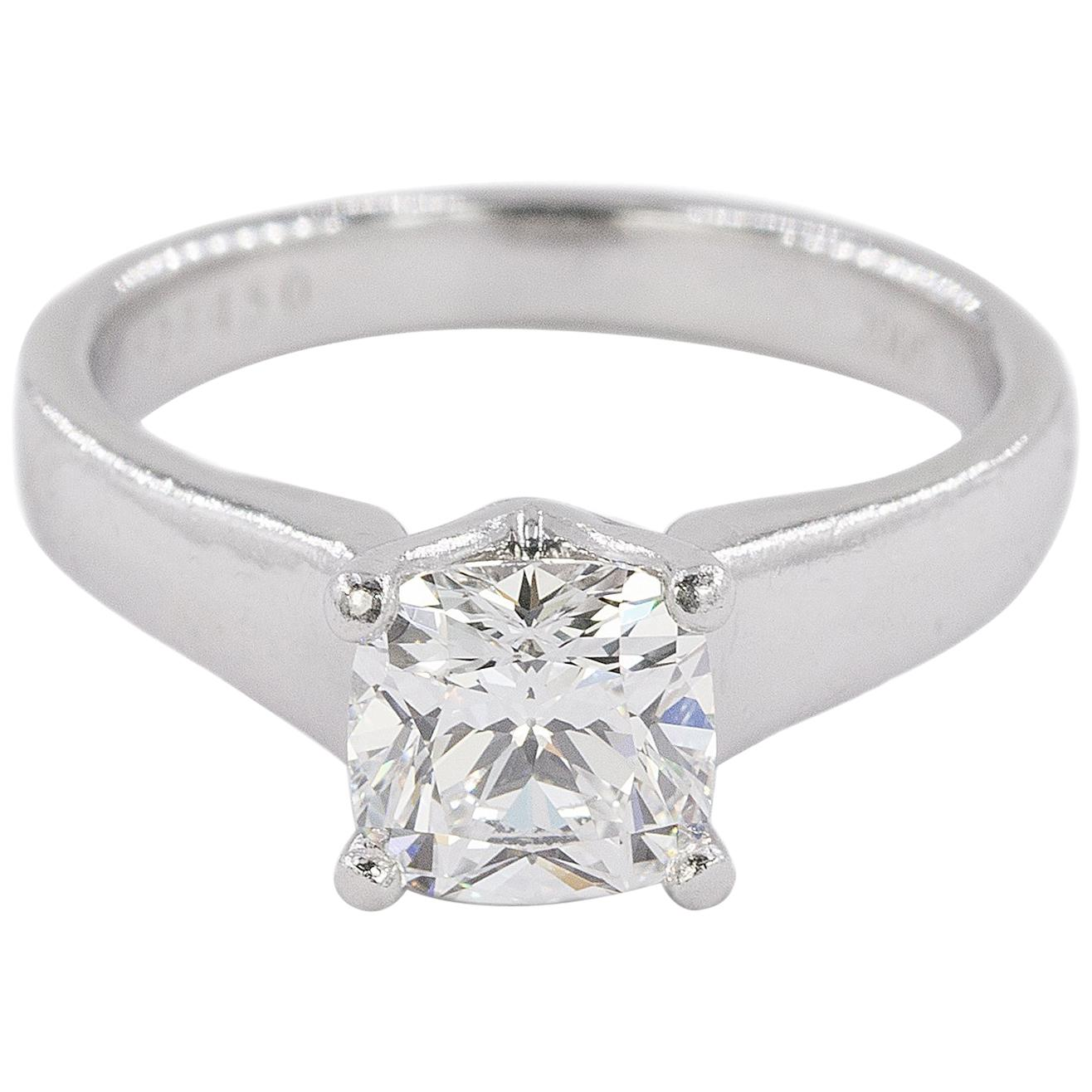 Platinum Ring with E Color VVS1 Clarity Cushion Cut Diamond