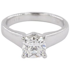 Platinum Ring with E Color VVS1 Clarity Cushion Cut Diamond