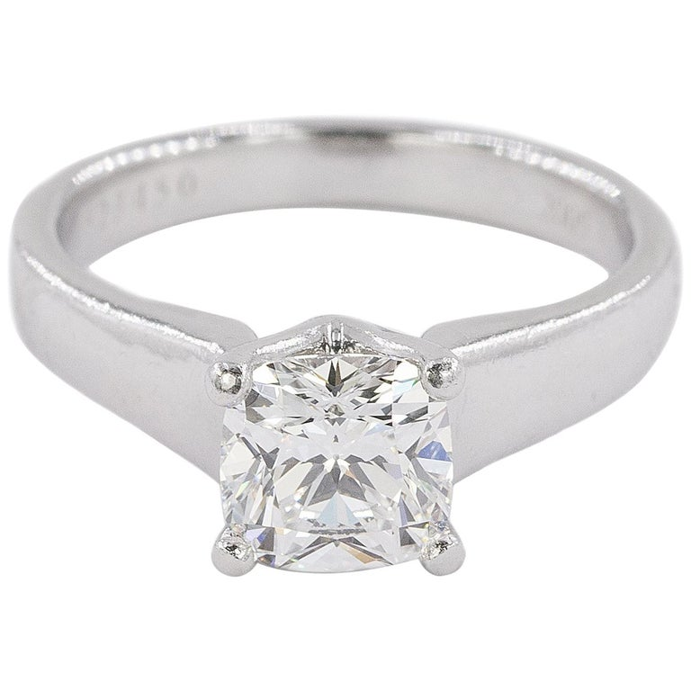 Platinum Ring with E Color VVS1 Clarity Cushion Cut Diamond For Sale