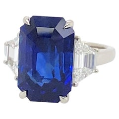 "Platinum Ring with GIA 10.16 Carat Emerald Cut ""Vivid Royal Blue"" Sapphire"