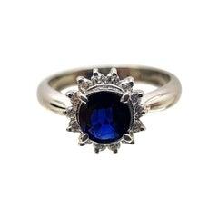 Platinum Ring with Nice Intense Blue Sapphire and Diamonds