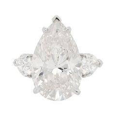 Platinum Ring with Pear Shape Diamonds