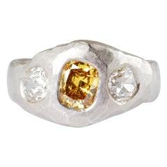 Platinum Ring with Rare Intense Orange Antique Old Cut Diamond