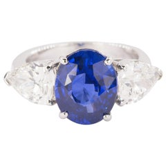 Platinum Ring with Royal Blue Ceylon Sapphire