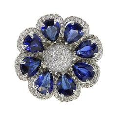 Platinum Ring with Sapphire and Diamond Flower