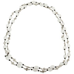 Platinum Rock Crystal, Diamond and Onyx Necklace