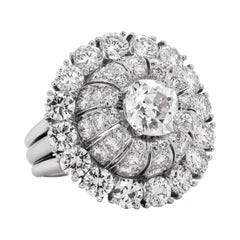 Platinum Rose Cut and Round Diamond Large Dome Cocktail Ring