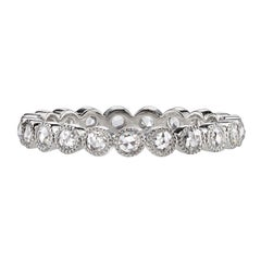 0.45 Carat Rose Cut Diamonds Set in a Handcrafted Platinum Eternity Band