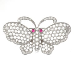 Platinum Rose Cut Diamonds and Ruby Butterfly Brooch