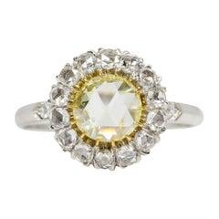 Platinum Rose Cut Diamonds Engagement Ring