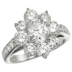 Platinum Rosette Diamond Ring, Oval Center Diamond