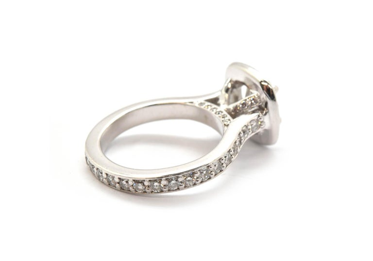 Women's Platinum Round 0.98 Carat Diamond Engagement Ring with Diamond Halo and Mounting For Sale