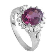 Platinum Round and Baguette Diamonds and Pink Tourmaline Ring