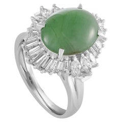 Platinum Round and Oval Baguette Diamonds and Oval Jade Band Ring