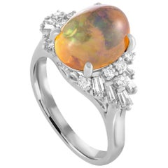 Platinum Round and Tapered Baguette Diamond and Opal Cabochon Ring