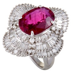 Platinum Round and Tapered Baguette Diamond and Pink Tourmaline Ring