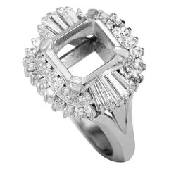 Platinum Round and Tapered Baguette Diamond Mounting Ring