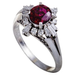 Platinum Round and Tapered Baguette Diamond Ruby Ring