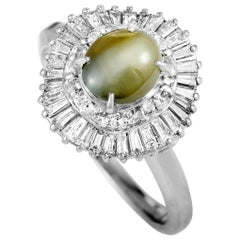 Platinum Round and Tapered Baguette Diamonds and Cat's Eye Oval Ring