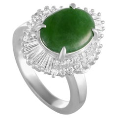 Platinum Round and Tapered Baguette Diamonds and Jade Oval Ring