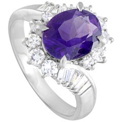 Platinum Round and Tapered Baguette Diamonds and Oval Amethyst Ring
