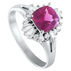 Platinum Round and Tapered Baguette Diamonds and Pink Tourmaline Ring