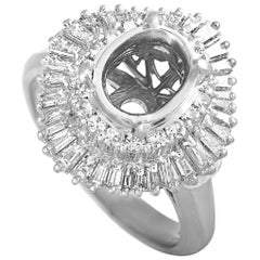 Platinum Round and Tapered Baguette Diamonds Mounting Ring