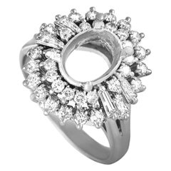 Platinum Round and Tapered Baguette Diamonds Oval Mounting Ring