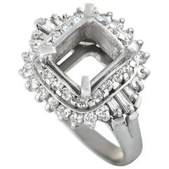 Platinum Round and Tapered Baguette Diamonds Square Mounting Ring