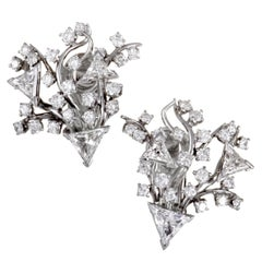 Platinum Round and Triangle Diamonds Huggie Clip-On Earrings