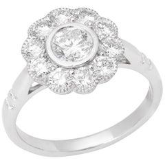 Platinum Round Brilliant Cut Diamond Millgrain Cluster Ring