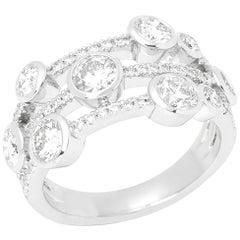 Platinum Round Brilliant Cut Multi Set Dress Ring