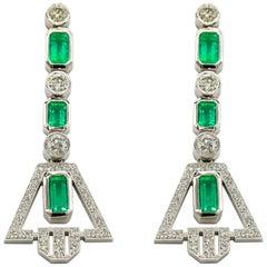 Platinum Round Brilliant Cut VS2 GH Color Diamond and 6 Carat Emerald Earrings