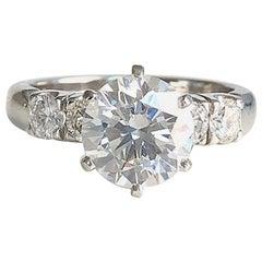 Platinum Round Diamond Engagement Ring, EVS2- 2.01 CT