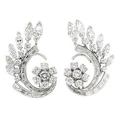 Platinum Round, Marquise and Baguette Diamond Earrings