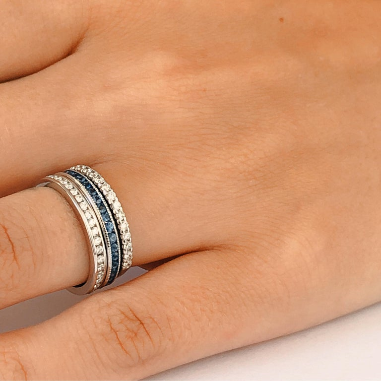 Contemporary Platinum Round Sapphire Milgrain Eternity Band For Sale