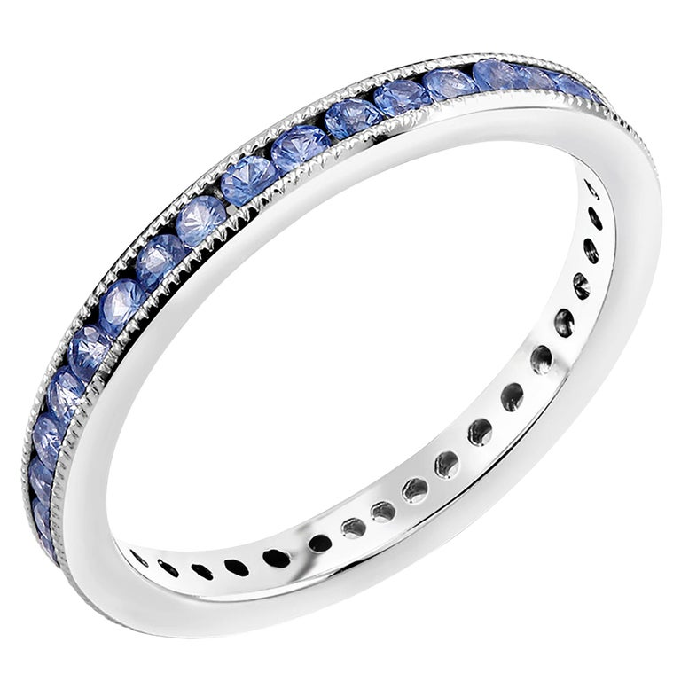 Platinum Round Sapphire Milgrain Eternity Band For Sale