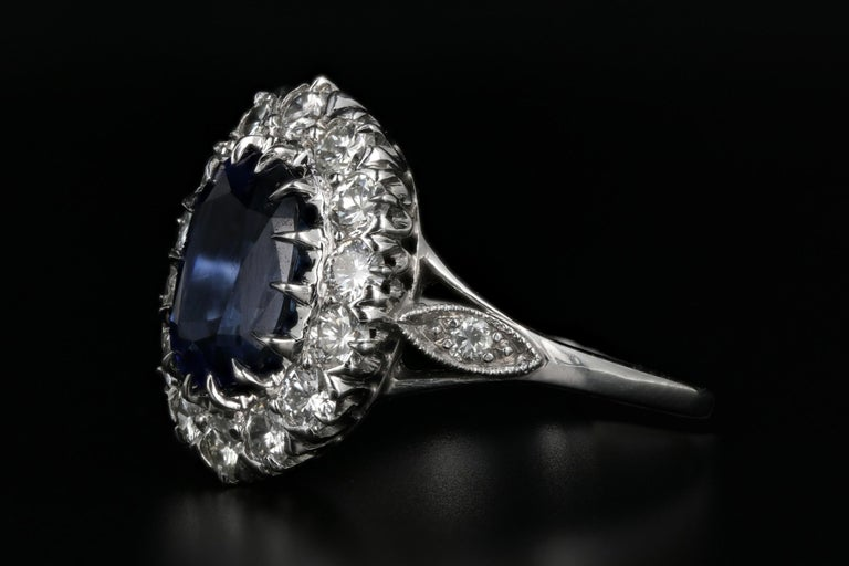 Modern Platinum Royal Blue Madagascar Sapphire and Diamond Ring GIA Certified For Sale