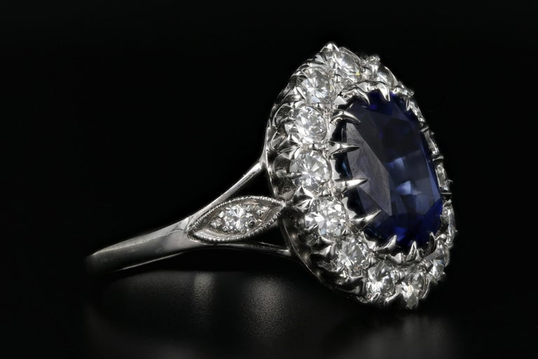 Cushion Cut Platinum Royal Blue Madagascar Sapphire and Diamond Ring GIA Certified For Sale