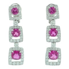 Rubellite Diamond Platinum Drop Earrings