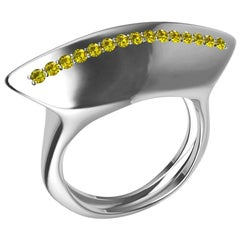 Platinum Rubies and Fancy Vivid Yellow Diamonds Sculpture Cocktail Ring