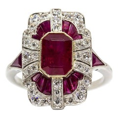 Platinum Rubies 'GIA Certified' and Diamonds Ring