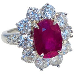 Platinum Ruby 3.23 Carat and Diamond Ring