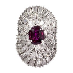 Platinum Ruby and Baguette Diamond Large Ballerina Cocktail Ring