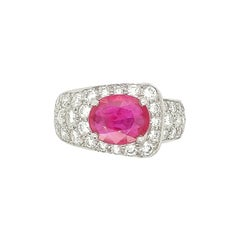 Platinum Ruby and Diamond Buckle Fashion Ring