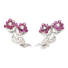 Platinum Ruby and Diamond Flower Clip-On Earrings, circa 1950