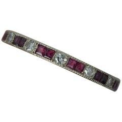 Platinum Ruby and Diamond Full Eternity Stack Ring