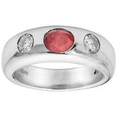 Platinum Ruby and Diamond Gypsy Ring