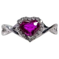 Platinum Ruby and Diamond Heart Shaped Fashion Ring